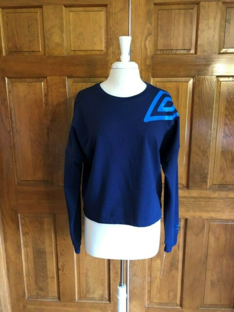 Umbro Women/'s Logo Dolman Crew Heather Grey Crop Top Sweater Various Sizes