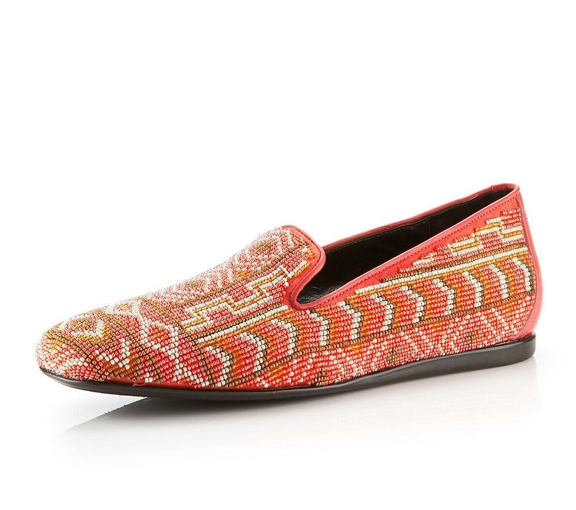 New Donald J Pliner Aryn Loafers Poppy Beaded Tribal Leder-Trim 7-M Stunning