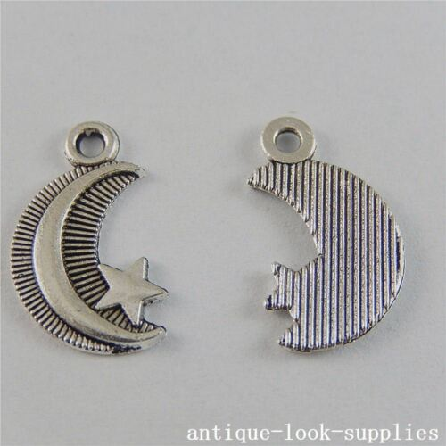 Vintage Silver Alloy Moon And Stars Pendants Charms Jewelry Craft 100pcs 50750