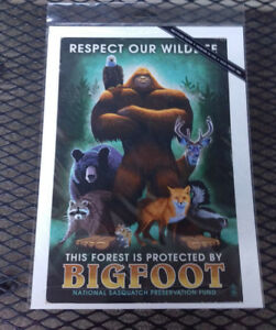 NEW-Bigfoot-Print-Respect-our-Wildlife-Printed-in-USA-9x12-Lantern-Press