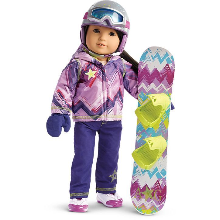 American Girl Doll Star of the Slopes and Snowboard and Helmet Set +AG Bag  ️