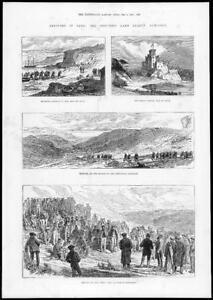 1884-Antique-Print-SCOTLAND-Skye-Crofters-Land-league-Agitation-Castle-196