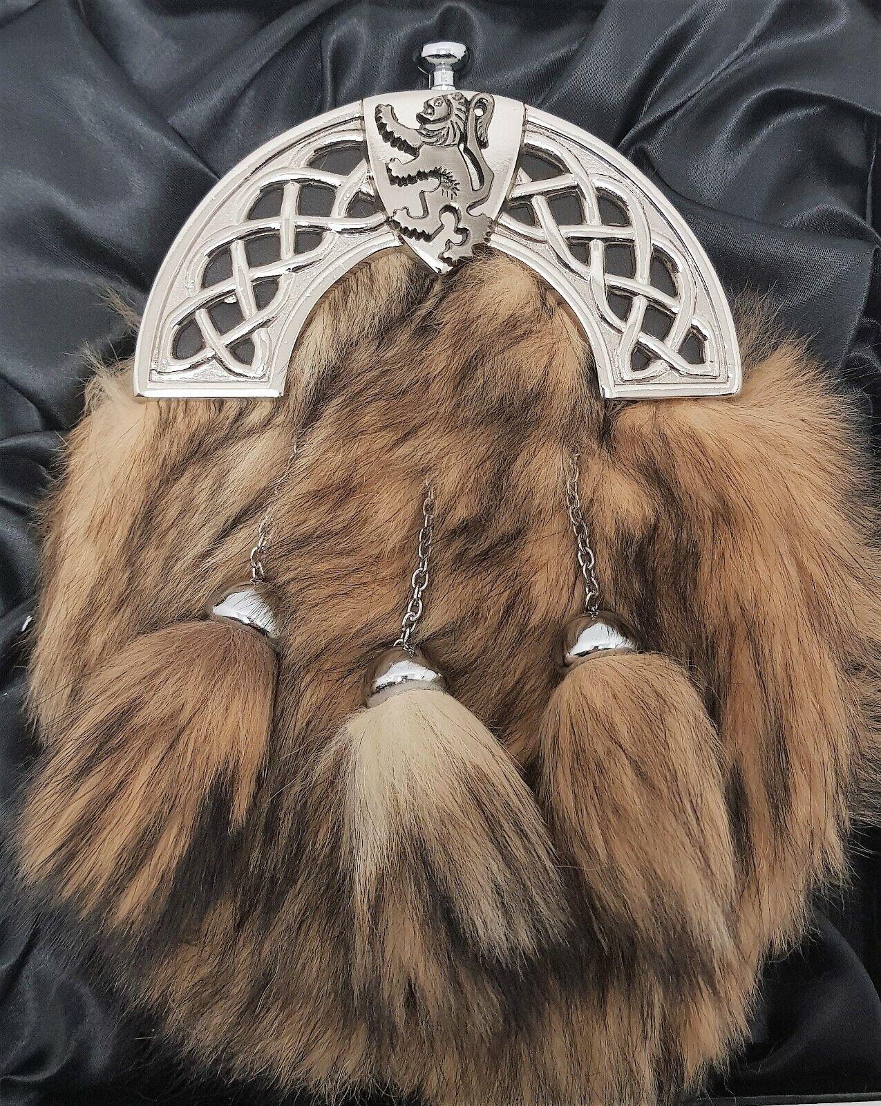 Antique Celtic Shield Lion Cantle Grey Fox Kilt Sporran & Chains Gift Boxed