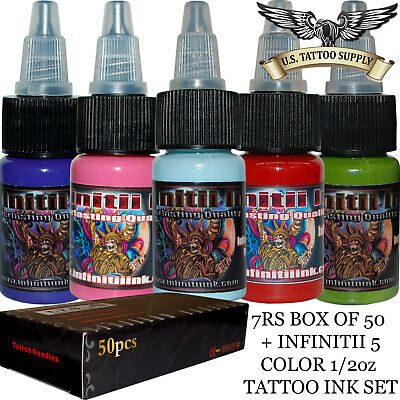 Adaptable 7 Round Shader Tattoo Needles Tattoo Needles, Grips & Tips Infinitii Tattoo Ink 5 Color 1/2oz Ink Set