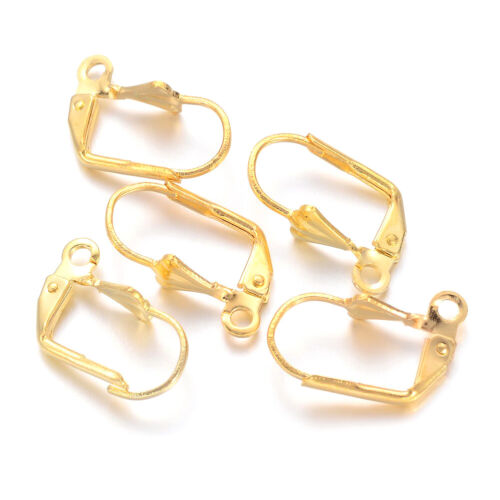 100pc Brass Leverback Earwire Shell End Gold Smooth Hook Stud Loop Findings 16mm