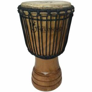 "Classic Heartwood Djembe Drum - 9""x 18"", Hand-carved, Solid-wood, Goat-skin,"