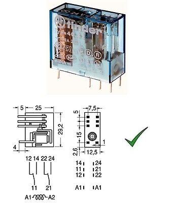 Relè relay 24V 24Vcc 8A circuito stampato pcb 1 contatto c//o in scambio RY211024