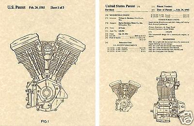 US PATENT Harley Davidson EVOLUTION ENGINE Art Print READY TO FRAME!!!!! HD EVO