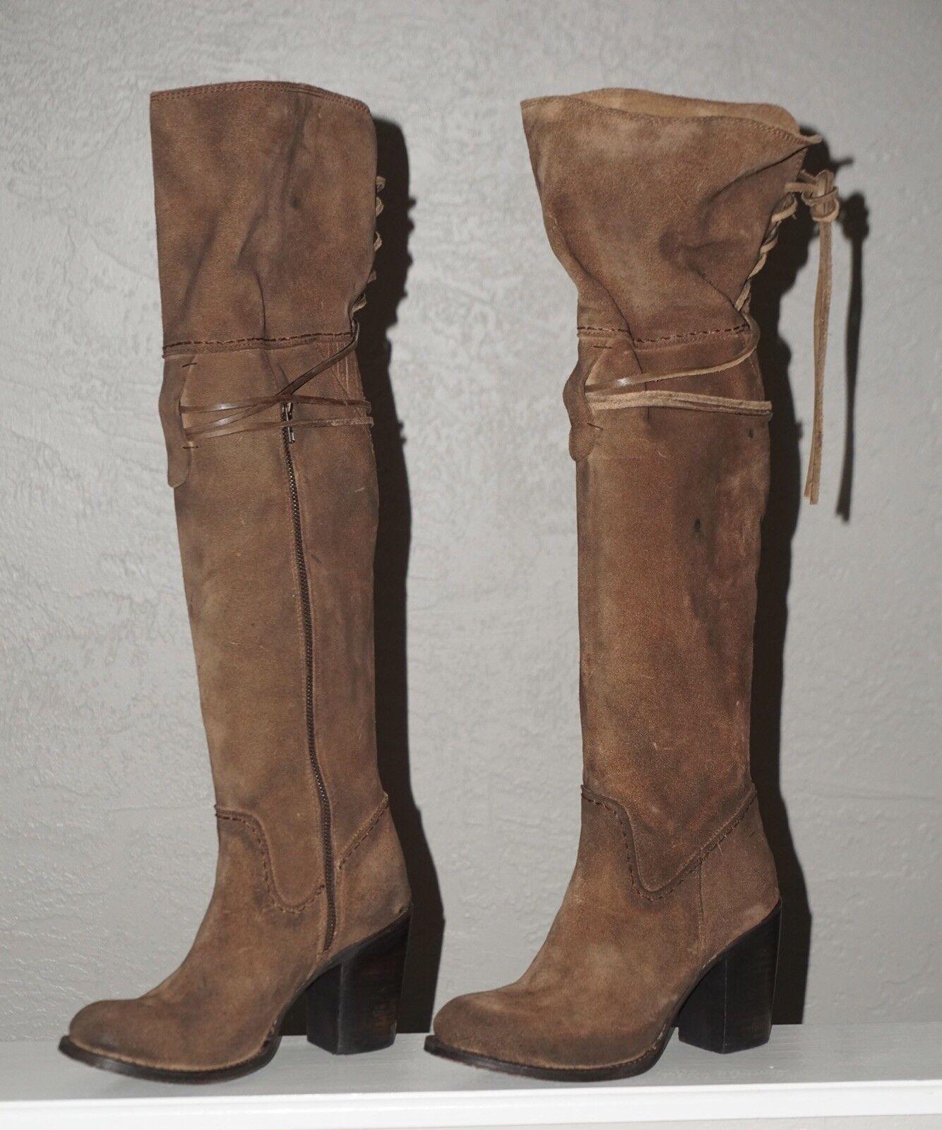 Carbón Freebird Encaje botas de de de montar sobre la rodilla botas boho Marrón Cuero Gamuza 9  barato en línea