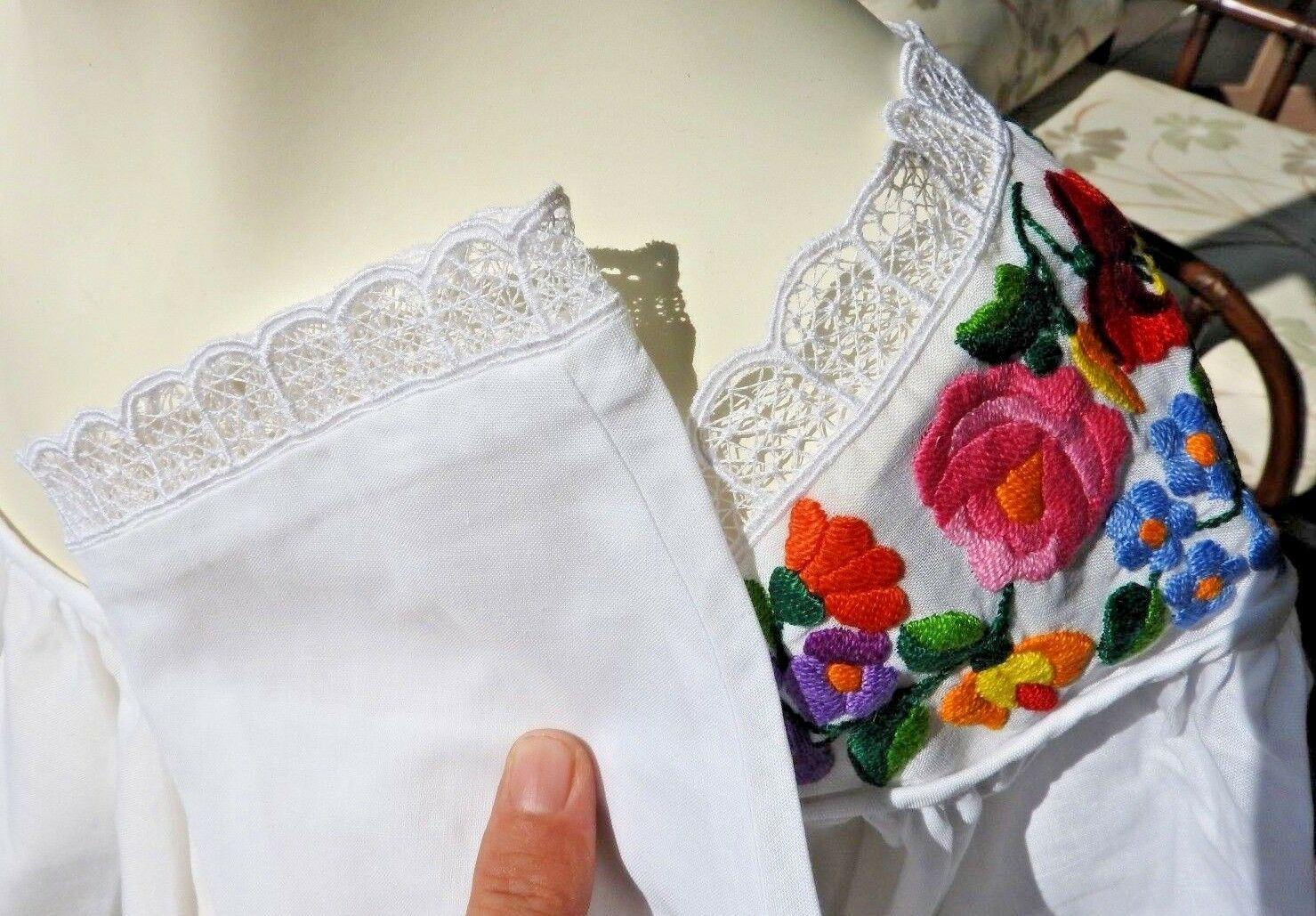 80s Blouse Embroidery Hungarian German Bohemian T… - image 6