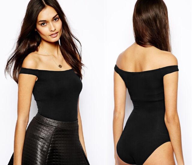 Faulty   Womens Black Low Back Bardot off Shoulder Bodysuit Party ... 7a83881670
