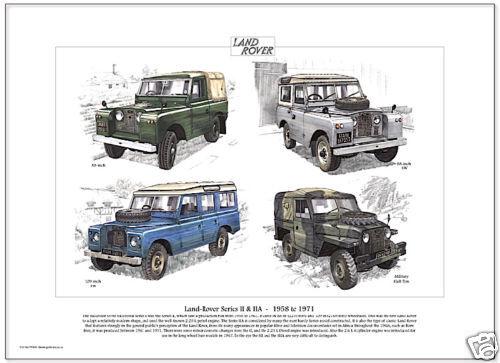 Military 88 /& 109 inch Fine Art Print LAND-ROVER SERIES II /& IIA 1958-1971