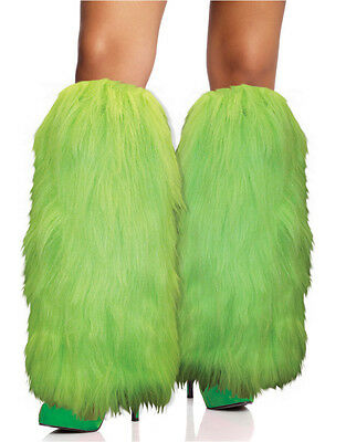Rave Diva Costume Bright Green Sexy Furry Fuzzy Leg Warmers