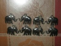 Wholesale Lot Of 8 Shiny Africa Silver Tone 23mm Elephant Charm Charms Pendants