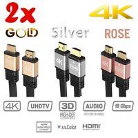 2 Pcs Ultra Hd Speed Hdmi V2.0 Cable Hdtv Led 3d 2160p 4k X2k Hdr Ps4 Bluray