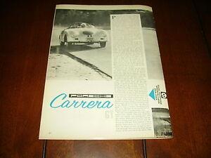 1959 PORCSHE CARRERA GT RACE SPORTS CAR ***ORIGINAL VINTAGE ARTICLE***