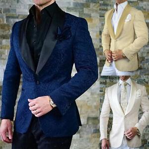 Brillant Groom Formel Smoking Châle Lapel Mariage Jeune Marié Meilleurs Hommes Un Bouton Suits-afficher Le Titre D'origine