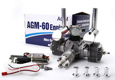 AGM60 60cc Gas Petrol Engine Twin Cylinders & CDI +Muffler for RC plane VS DLE60