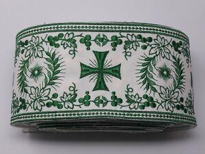Orphrey-Vintage-Cruz-Verde-Encendido-Apagado-Blanco-Vestment-Banda-11-4cm-Ancho