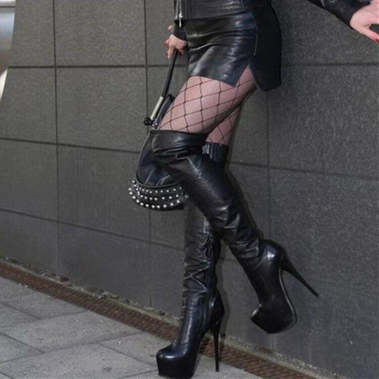 TRENDY Women Knee High Boots Platform Round Round Round Toe Heels Boots shoes Big Size 4-20 5ff72e