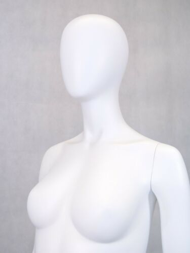 Women/'s Matte White Full Body Mannequin With Egg Head with Round Metal Base