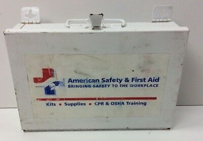 Vintage Metal First Aid Kit Box Factory American Safety