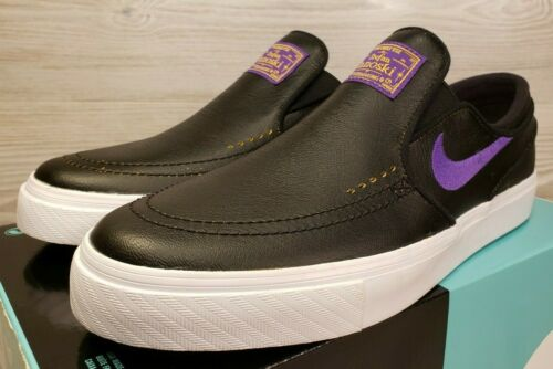 Nike SB Zoom Janoski Slip NBA Black Purple White Leather Lakers BQ6396-024 Sz 9