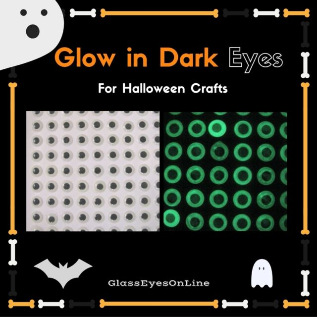 50 PAIR Craft Eyes Glow In Dark Halloween Flat Glue On Back 5mm to 8mm  GDLL