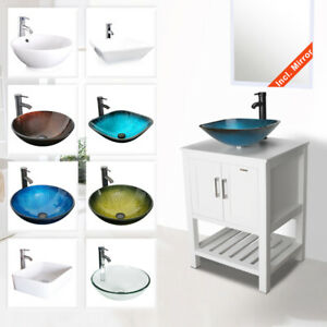 24 White Bathroom Vanity W Ceramic Glass Vessel Sink Faucet Cabinet Drain Combo Ebay