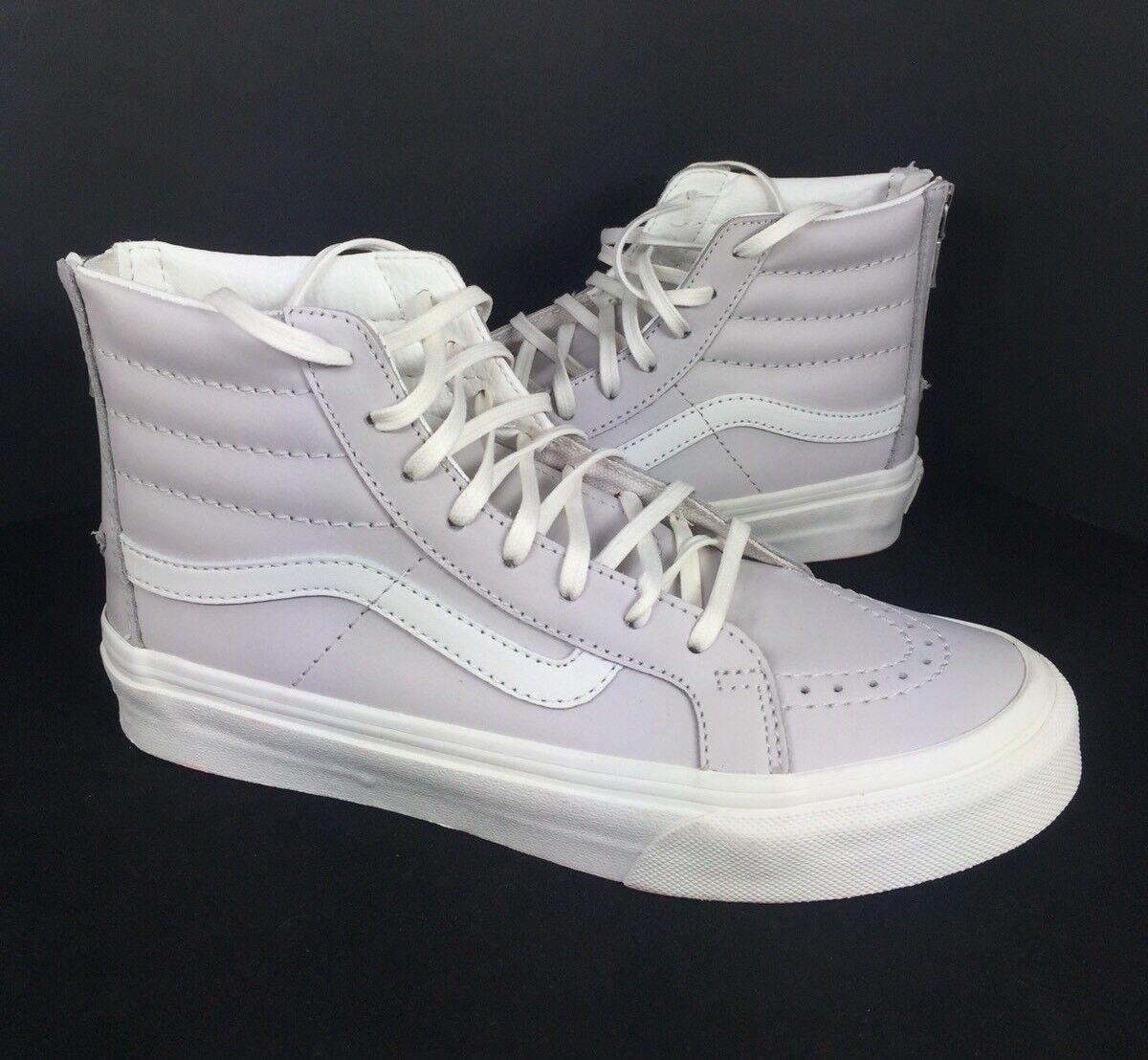 NEW Vans SK8 Hi Top Leather Slim Zip Shoes Unisex Womens Wind Chime Gray 5.5 6