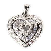 Usa Seller Baguette Heart Pendant Sterling Silver 925 Best Deal Jewelry Gift