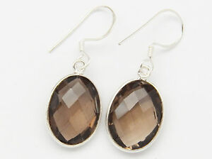 Jewelry & Watches Fine Jewelry Tribal Jewelry Earrings 925 Sterling Silver Natural Smoky Quartz Oval Gemstones