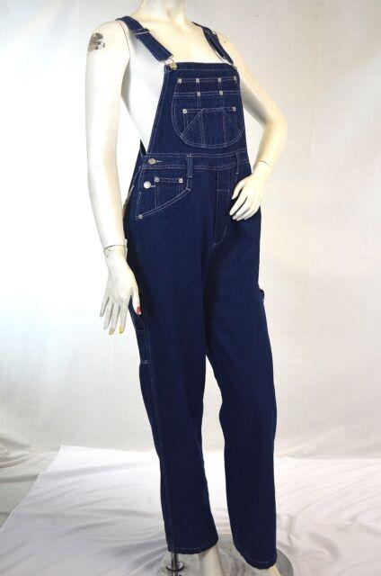 Revolt Womens Classic Bib Overalls Khaki and Denim Blue Jean Olive