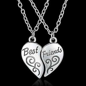 Friendship Pendant Necklace 2 pcs hot best friend forever bff heart friendship pendant necklace image is loading 2 pcs hot best friend forever bff heart audiocablefo