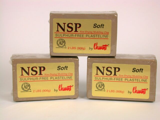 Chavant NSP Non-Drying Modeling Clay - 3 pack-Soft Tan -2 pound blocks Sculpting