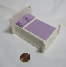 FISHER PRICE Sweet Streets Dollhouse PURPLE & WHITE DOUBLE BED Victorian House