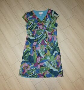 Details About Womens Bob Mackie Studio Silk Dress V Neck Cap Sleeve Colorful Floral Lined 14