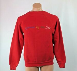 Crazy-Shirts-Hawaii-Carmel-By-The-Sea-VTG-90s-Sweatshirt-Red-Embroidered-Sz-M