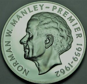 Jamaica 5 Dollars, 1976 RARE Silver Proof~23,000 Minted~Norman W. Manley~Free Sh