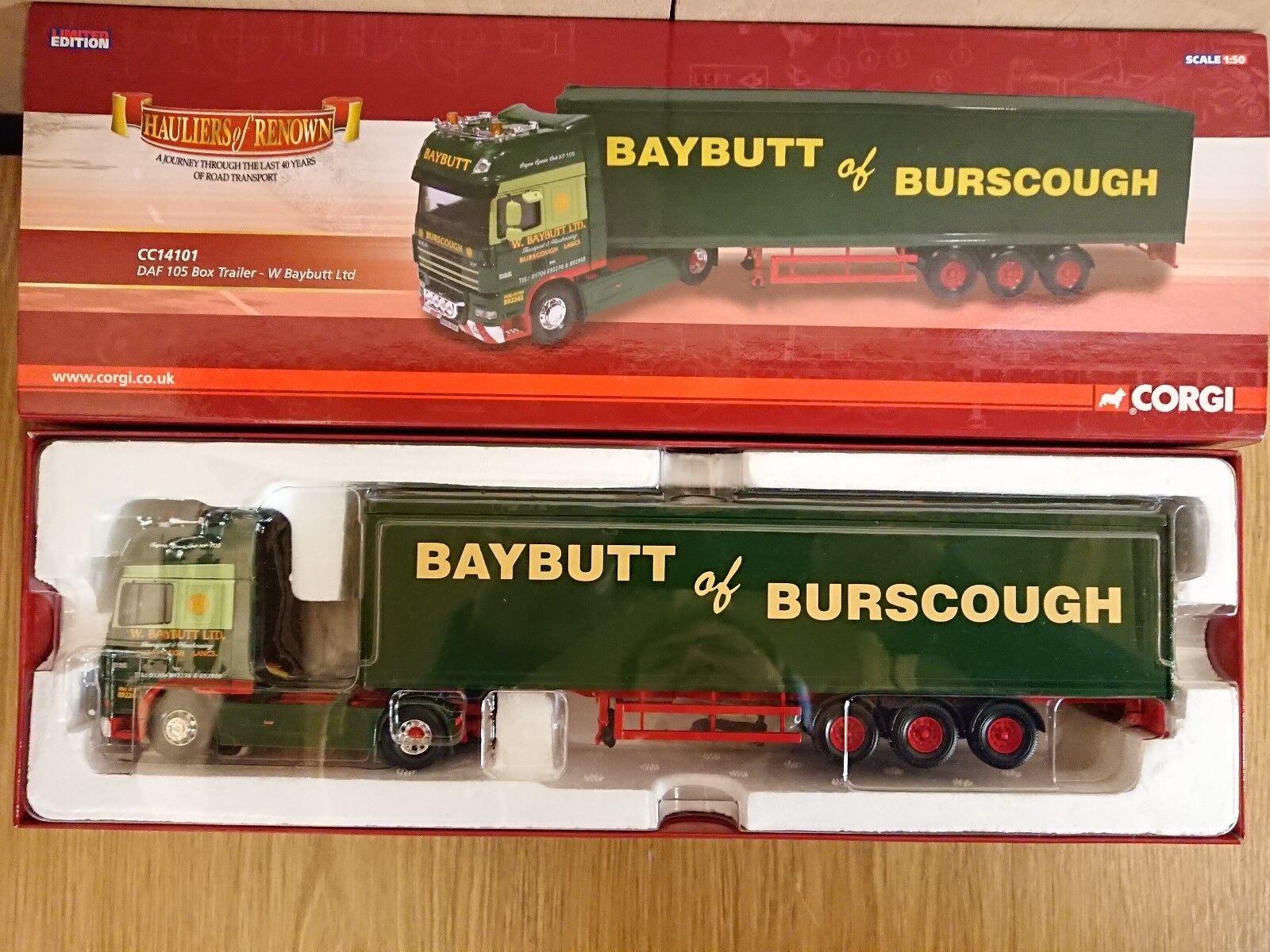 CORGI CC14101 DAF 105 Boîte Remorque W. baybutt Ltd Edition No 0002 de seulement 1610