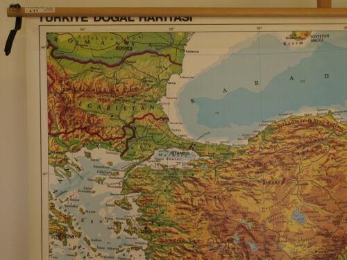 Carte Murale Turquie Istanbul Ankara Crimée Syrie Chypre Crète 137x93cm ~1970
