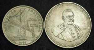 1966-1969-Portugal-Republic-Nice-Silver-20-amp-50-Escudos-Coins-XF-AU-2pcs