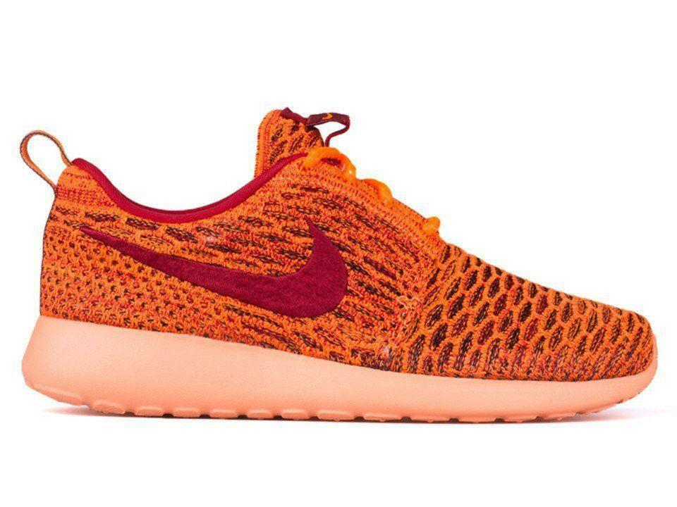 Femme Nike Roshe One Flyknit Orange Baskets 704927 801