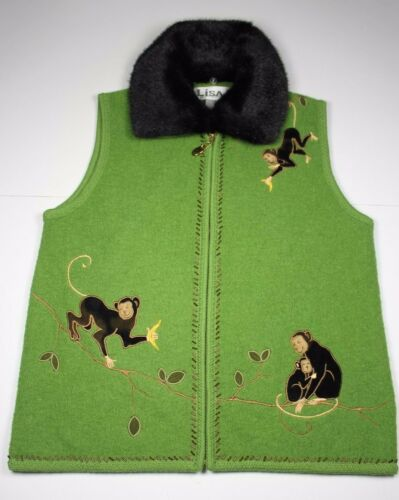 Lisa International Wool Vest Faux Fur Collar Small