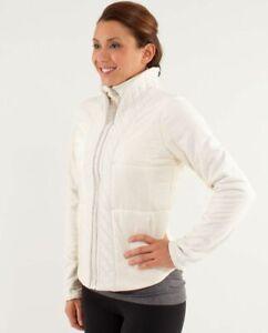 LULULEMON St Moritz Jacket Puffer Fleece Quilted Zip Pockets Cream Size 4