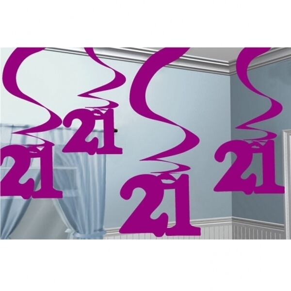 5 X 2ft Girls Pink 21st Birthday Hanging Swirls Banner Party Decorations Age 21 For Sale Online