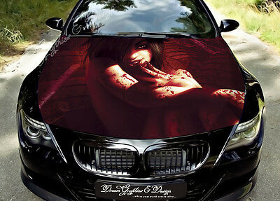 Blood Girl Full Color Graphics Adhesive Vinyl Sticker Fit any Car Bonnet #148