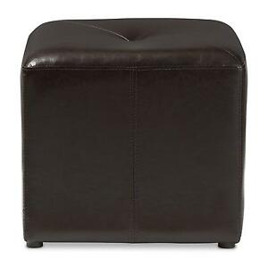 Baxton Studio Lave Cube Shaped Brown Bonded Leather Ottoman