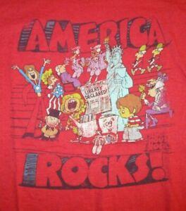 SCHOOLHOUSE-ROCK-034-AMERICA-ROCKS-034-T-SHIRT-Cartoons-Retro-Patriotic-Only-A-Bill-L