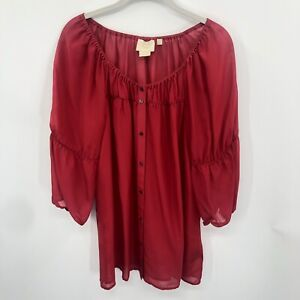 Anthropologie-Vanessa-Virginia-Women-Red-Silk-Peasant-Top-size-M-3-4-sleeve